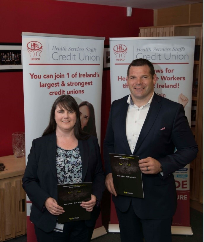 Mike Ross Commercial Director of Wizuda with HSSCU General Manager Catherine Byrne
