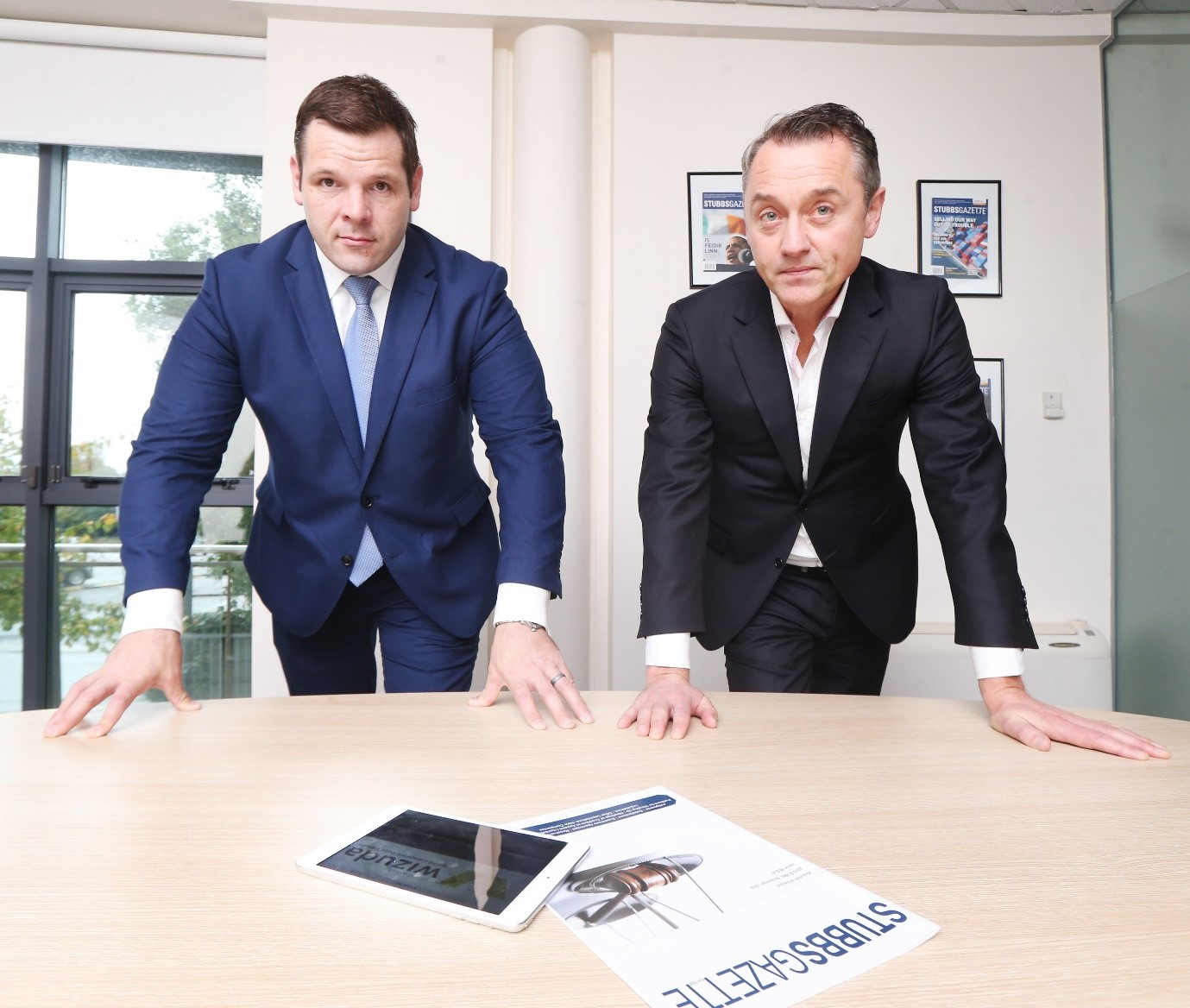 Wizuda Commercial Director Mike Ross with StubbsGazette Managing Director James Treacy